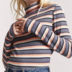 Forever 21 Striped Rib Knit Turtleneck